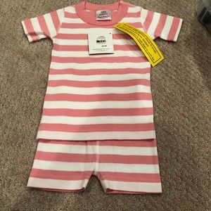NWT Organic White and Pink Stripe Pajamas